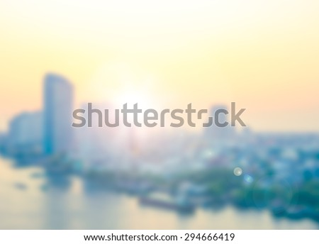 Blurred city at rooftop of hotel background. #294666419