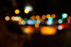 BLURRED CITY LIGHTS AT NIGHT, DARK COLORFUL BOKEH