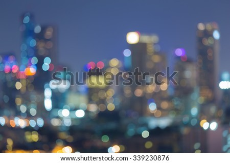 Blurred city multiple colour lights bokeh background at night