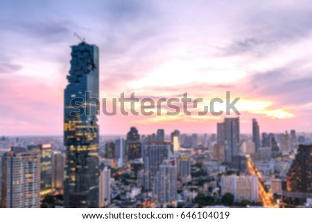 Blurred cityscape of Bangkok city at night , landscape  Thailand