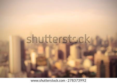 Blurred cityscape of Bangkok, Thailand. Vintage style