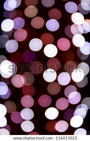Blurred colorful circles bokeh of christmas lights