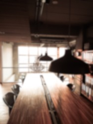 Blurred concept : Blur abstract cafe and meetingroom interior for background,