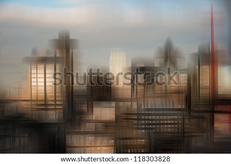 Blurred effect image giving futuristic science fiction looking creative concept image of business