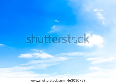 Blurred empty sky surface. blue sky background with tiny clouds. Cloudy blue sky abstract background. Selective focus concept.  - Shutterstock ID 463030759