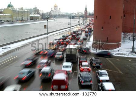 Blurred Fast Moving Cars near Kremlin Tower