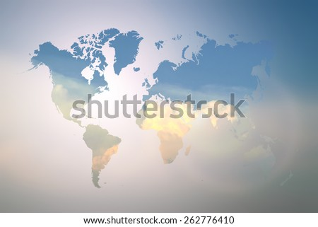 Blurred  Flare Blue sky and sunlight with world map
