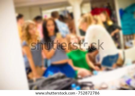 Blurred for background. Ibiza night club fashion show backstage. Nightclub show. Fashion show on backstage.