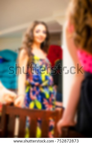 Blurred for background. Ibiza night club fashion show backstage. Nightclub show. Fashion show on backstage.