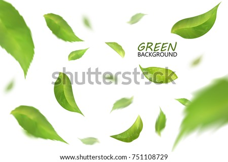 Blurred fresh flying green leaves, quality 3d imitation.