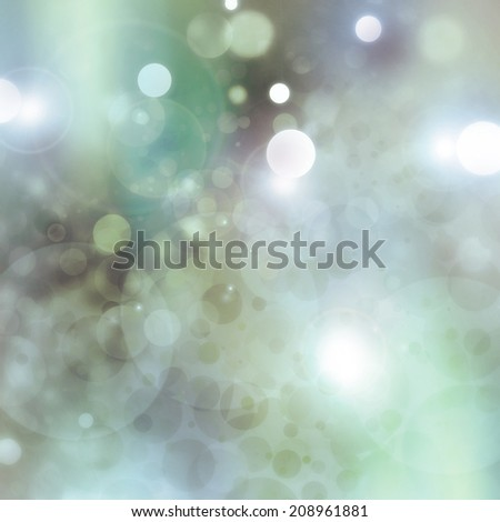 blurred green blue background bokeh lights, circle bubble shape white lights design