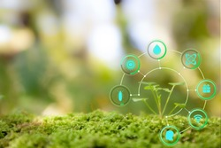 Blurred greenery background with copy space, Nature sustainable energy logo and AI technology icon. Agriculture and environmental concept. Ecology reuse and data analysis with internet of thing IOT