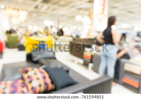 Blurred Homemart Furniture Store Background With Customer Shopping Interior  Object #761594851