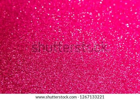Blurred hot pink glitter Christmas texture backdrop.  Paper red purple photo of bokeh light background. Abstract color rose gradient shiny Xmas lights Valentine's Day background. top view. Stock photo ©