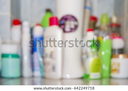 Blurred household chemicals at home #642249718