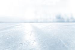BLURRED ICE HOCKEY STADIUM, COLD LIGHT BACKGROUND