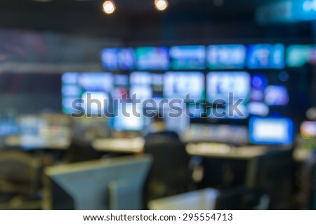 blurred image against television studio