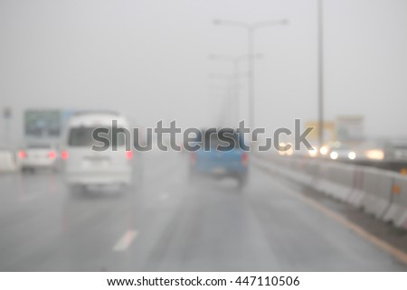 Blurred image car on the road. #447110506