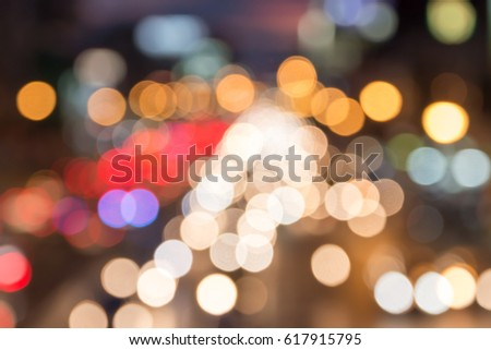 Blurred image for background of bokeh traffic jam in rush hour on road #617915795