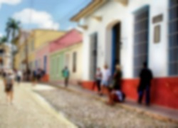 blurred image from a streetscene on a tropical island