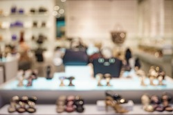 Blurred image of a shoes store in shopping mall