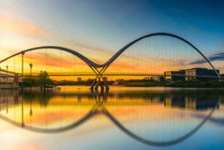 Blurred image of Infinity Bridge at sunset In Stockton-on-Tees, UK