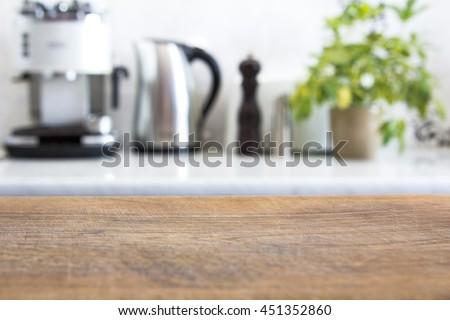 blurred image of modern kitchen interior for background #451352860