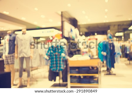 Blurred image of shopping mall and bokeh background : Vintage filter