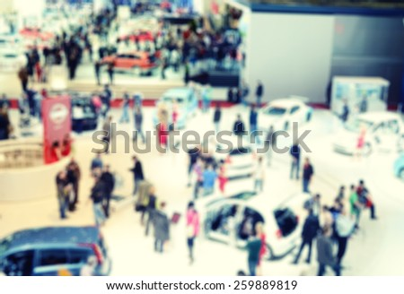 Blurred image of the International Geneva car show
