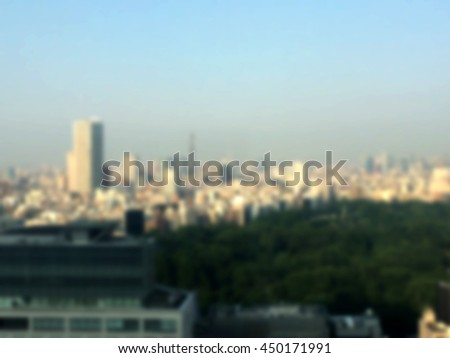 Blurred image  Tokyo capital of Japan from high angle view and cross process and soft flare filter #450171991
