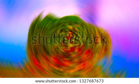 Blurred images by creating a violent rotation effect