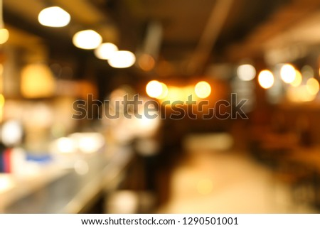 Blurred interior of modern cafe #1290501001