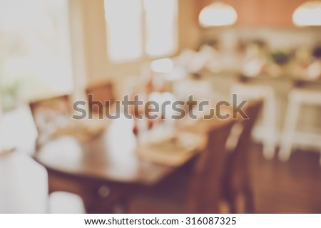Blurred Kitchen Table with Vintage Instagram Style