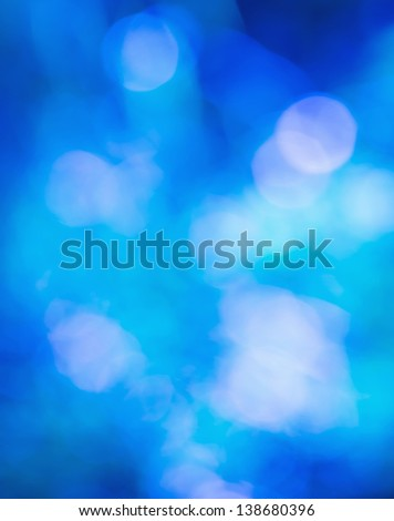Blurred lights Blue bokeh abstract light background