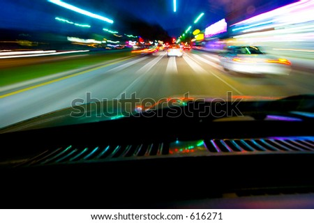 Blurred lights captured while driving at night