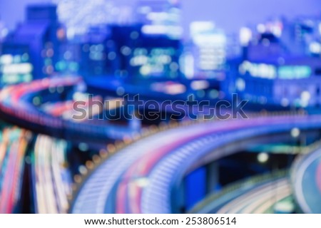 Blurred lights of night Tokyo. Abstract photo.