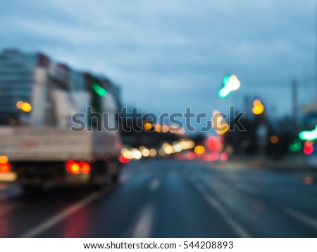 blurred lights of Road traffic cars on street in germany at evening #544208893