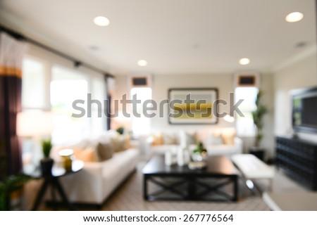 blurred luxurious interior ...
