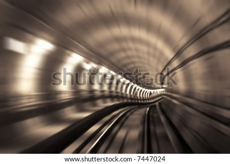 Blurred motion in metro tunnel
