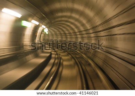 Blurred motion in metro tunnel. Copenhagen metro