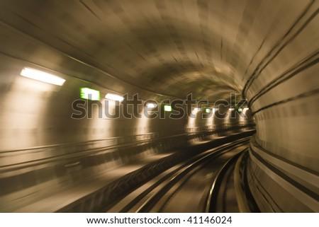 Blurred motion in metro tunnel. Copenhagen metro