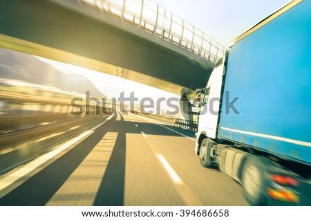 blurred motion of semi truck...
