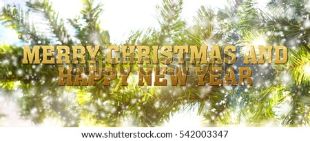 blurred of christmas background with fir tree and snow effect with words Merry Christmas and Happy new year
