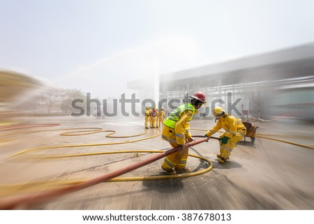 Blurred of  Many people at work preparing for training firefighters . #387678013