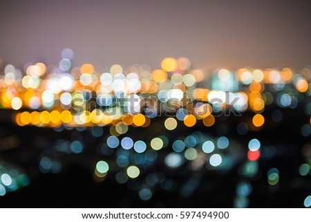 Blurred of Night city-scape,Bankkok thailand  #597494900
