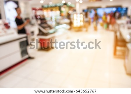 blurred of shopping mall with lighting and bokeh.