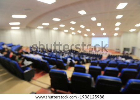Blurred  of students, audience keynote speaker, people meeting start up business program collaboration discussion and listen in convention hall background concept. event university or campus. Photo stock ©
