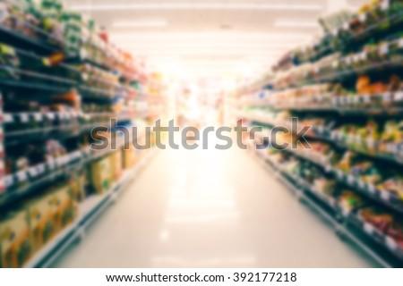 blurred of supermarket