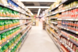 Blurred of supermarket aisle with product on shelves