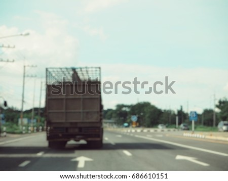 Blurred of truck on road #686610151